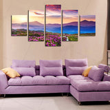 5 Pcs Canvas Art Flowers Wall Pictures Mountain Wall Mountain Painting Calligraphy Panel Paint