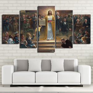 HD Printed 5 Piece Canvas Art Classic Painting  Jesus Christ Returns To Earth Christian