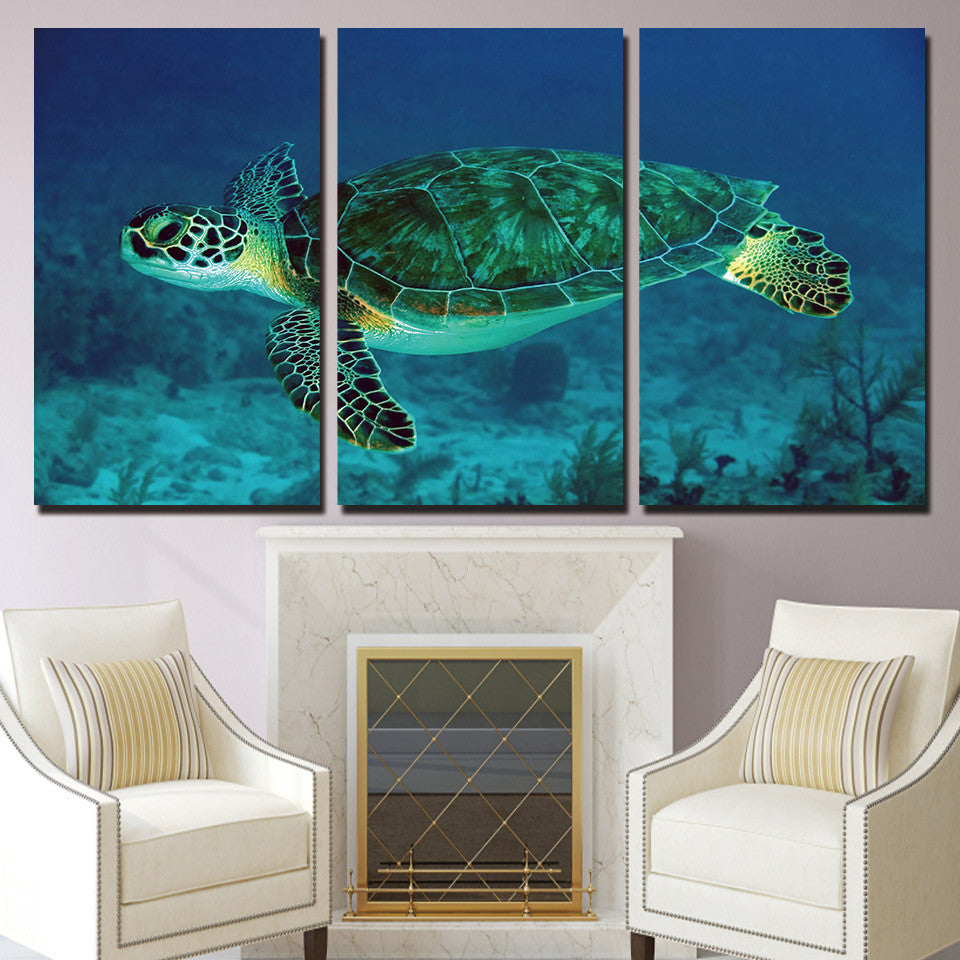 3 Panels Canvas Art Turtle Underwater Home Decoration Wall Art Painting Canvas Prints Pictures