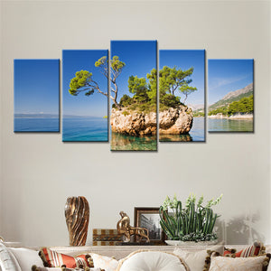 Abstract Canvas Painting Wall Art Oil Poster Modular Pictures 5 Panel Seaside Island Blue Sky Home Decor HD Photo