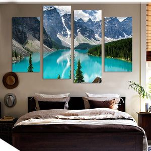 4 Piece Canvas Painting Snow Mountain River HD Printed Art Prints Wall Home Decor Poster Pictures Living Room