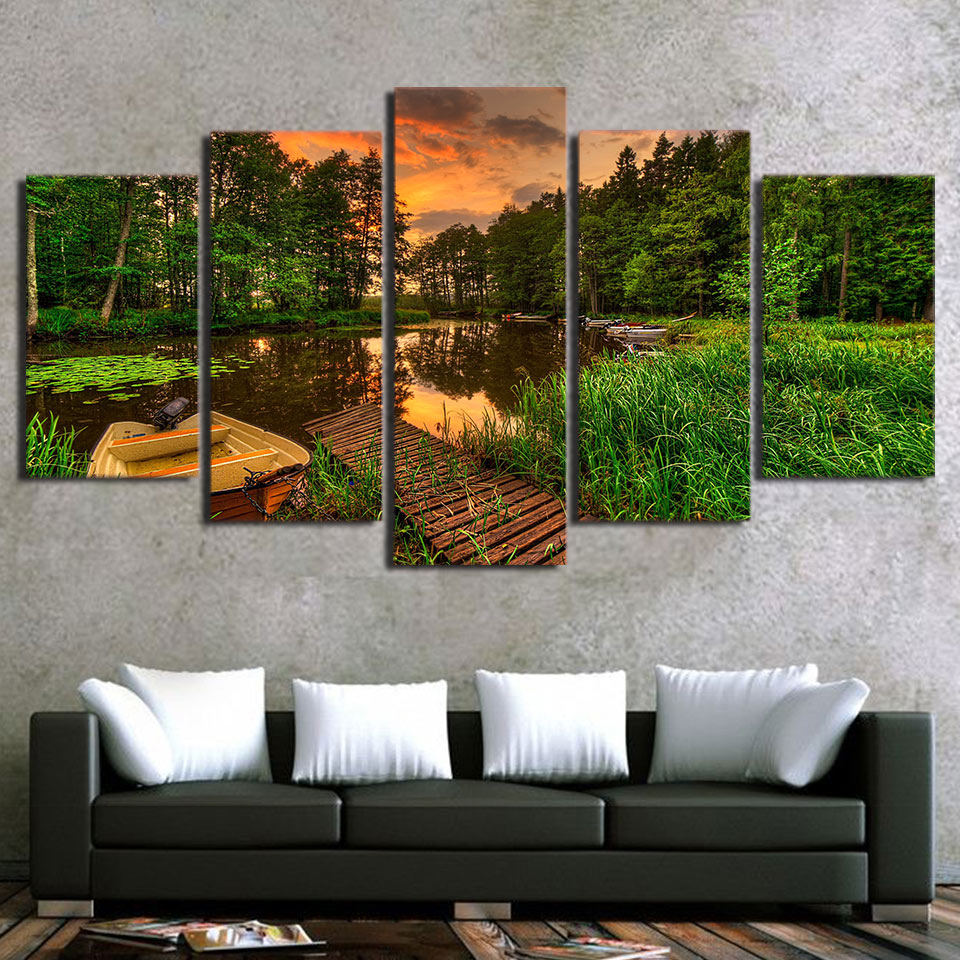 5 Piece Art Canvas Painting HD Printed Boat Forest Sunset Tree Poster Picture