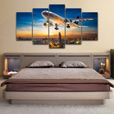 Modular Pictures HD Print Canvas Oil Painting Wall Art 5 Panel Airplane Sunset Landscape Poster