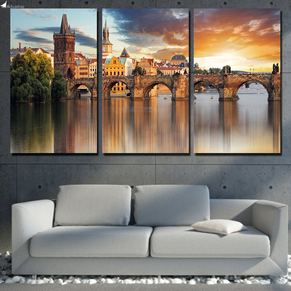 HD Printed Canvas 3 Piece Home Decor European Prague Bridge Painting Wall Pictures Poster