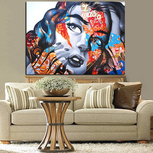 3D Sexy Woman Face Graffiti Pop Art Canvas Painting Digital Prints Wall Art Picture Sofa Home Decor Poster