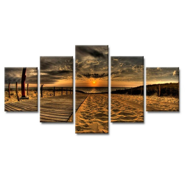 Canvas Art Painting 5 Beach Sunset Poster HD Print On Canvas