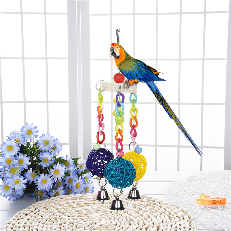 Wood Loofah Pet Parrots Birds Toys Bells Stand For Birds To Play Bite Climb
