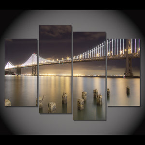 HD 4 Bay Bridge By Night San Francisco Painting Room Decor Print Poster Picture Canvas
