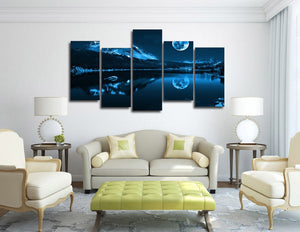 HD Printed Snowy Night Moon Painting On Canvas Room Decoration Print Poster Picture