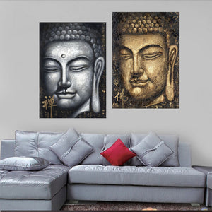 2 Piece Canvas Art Modern Abstract Buddha Print on Canvas Artwork Painted Wall Decor