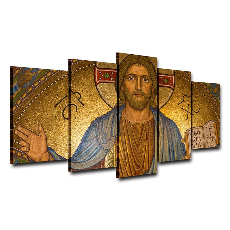Modern Canvas Wall Art Christ Posters HD Printed Oil Painting 5 Pieces Jesus Pictures