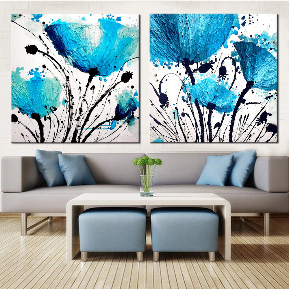 2 Panel Flower Abstract Print Canvas Art Oil Painting Home ...