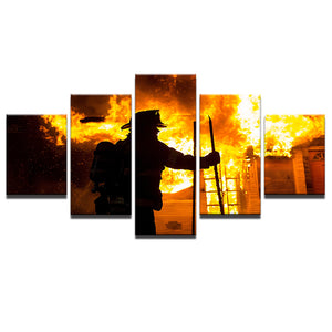 Canvas Painting Printed Wall Art Modern Fireman Pictures 5 Pieces Fire Fighter Warrior Landscape Poster