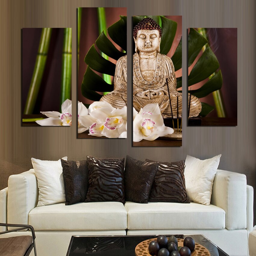 4 Pieces Buddhism Buddha Canvas Painting Antique Buddha Picture Wall Art Home Decoration Living Room