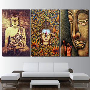 HD Printed 3 Piece Color Buddha Wall Art Canvas Statue Posters And Prints