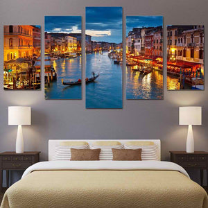Modern Wall Art Poster HD Prints Pictures 5 Piece Venice Water City Boat Light Landscape Canvas Painting