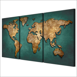 HD Printed 3 Piece Canvas Art World Map Canvas Painting Vintage Continent Wall Pictures