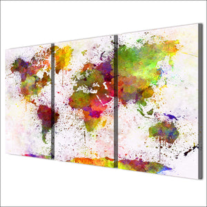 HD Printed 3 Piece Canvas Art Color World Map Painting Continent Wall Pictures