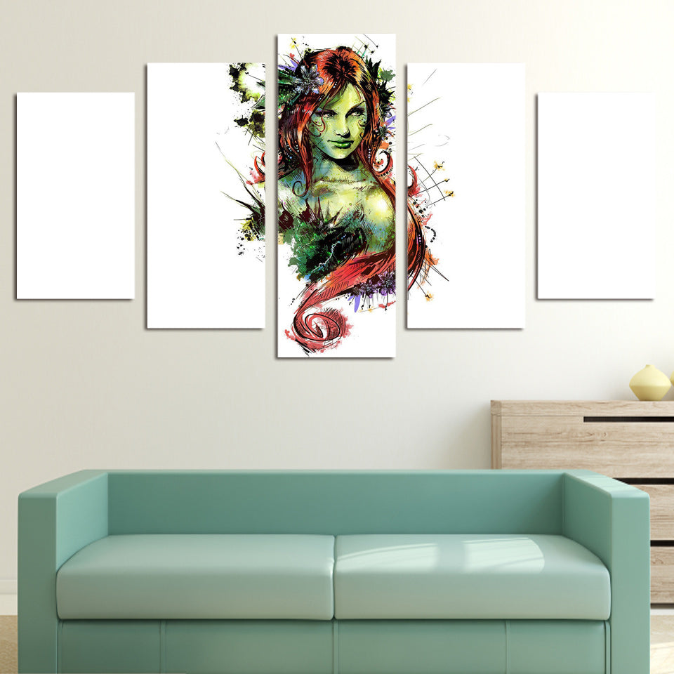 Wall Art Painting 5 Piece Canvas Art HD Print Flower Woman Home Decor Wall Pictures