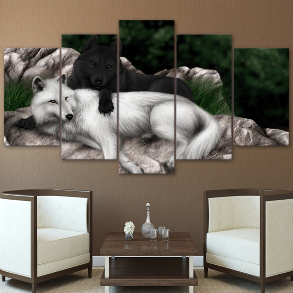 HD Printed Animal Abstract Poster 5 Pieces Black White Wolf Canvas Painting Wall Art