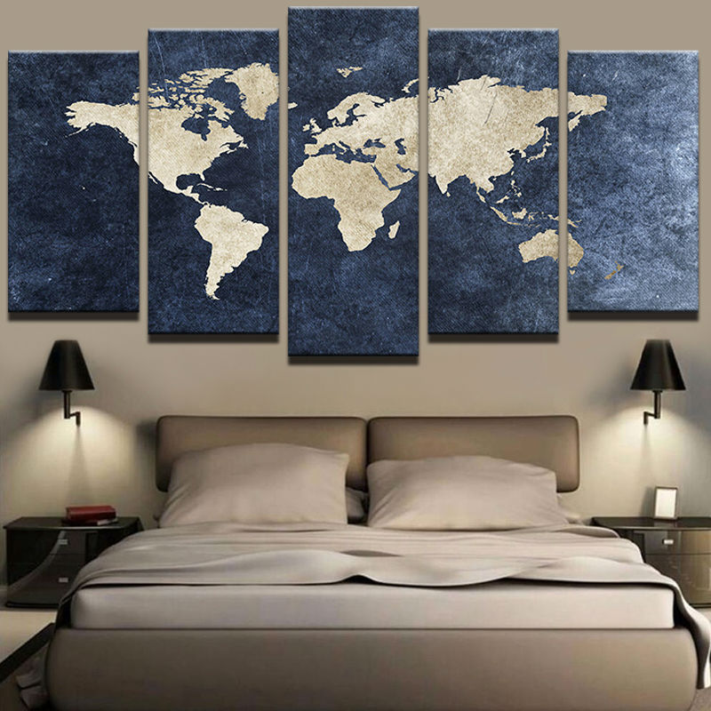 Modern Abstract Painting Print Canvas Poster Wall Pictures 5 Pieces Blue World Map