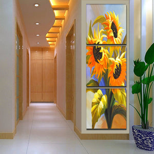 3 Panel Printed Sunflower Oil Painting Picture Canvas Art Wall Paintings Flower No Frame