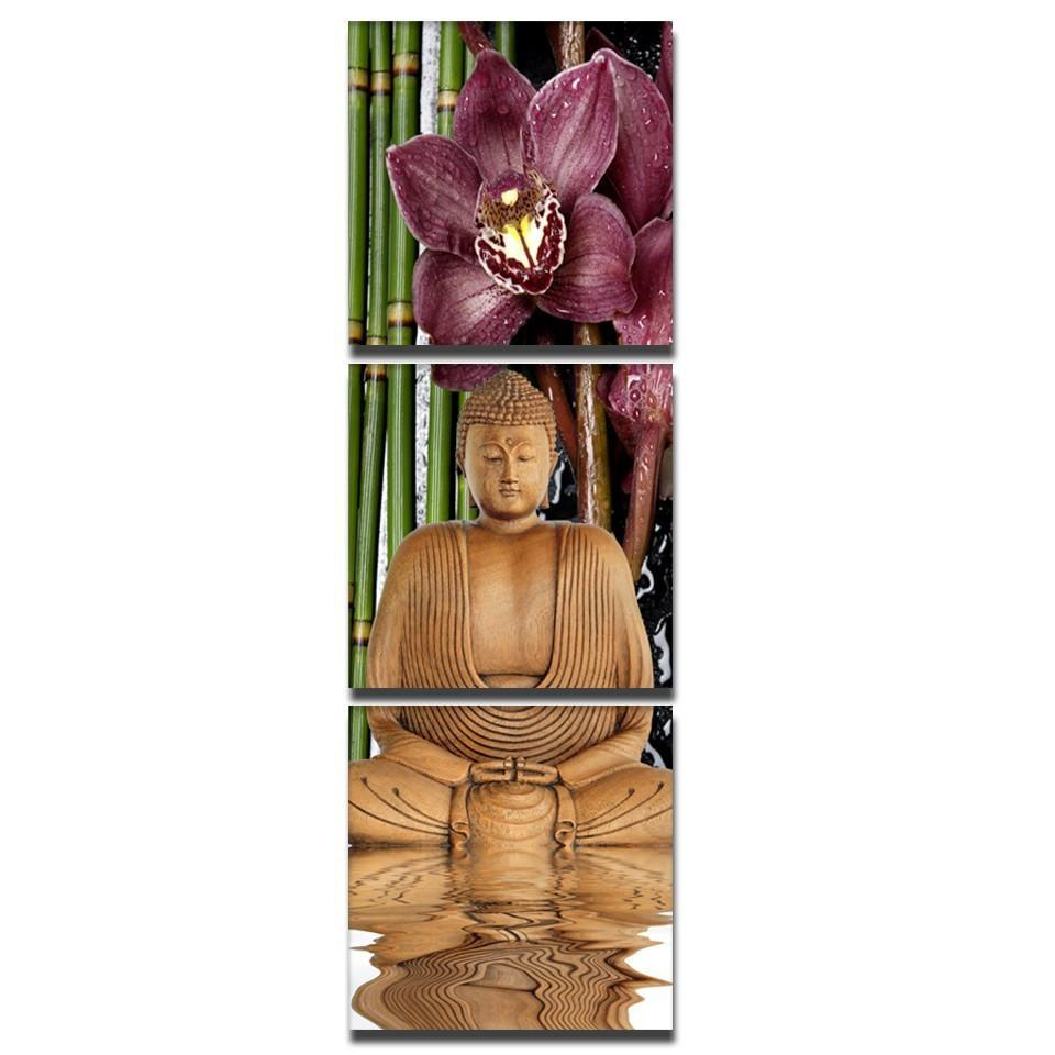 3 Piece Canvas Art Printed Buddha Painting Paintings Wall Canvas Pictures
