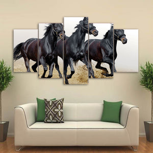 Modern Painting On Canvas Wall Art HD Printed 5 Panel Modular Pictures Animal Dark Horses Running Poster