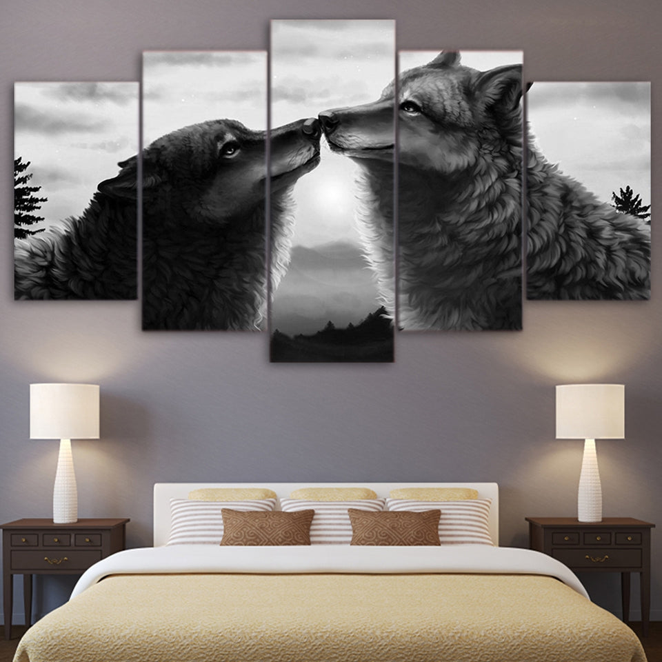 Printed Landscape Picture 5 Pieces Abstract Animal Black Wolf  Large Canvas Painting Wall Art Decor