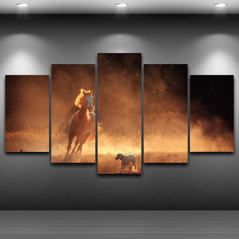 Canvas Oil Painting Home Decor Wall Art Pictures 5 Pieces Animal Horse And Dog Of Chase Painting HD Print