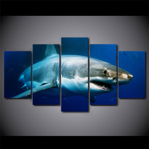 HD Printed 5 Piece Canvas Blue Ocean White Shark Painting Wall Pictures