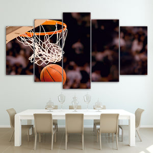 HD Printed 5 Piece Canvas Art Basketball Circle Painting Ball Game Wall Pictures