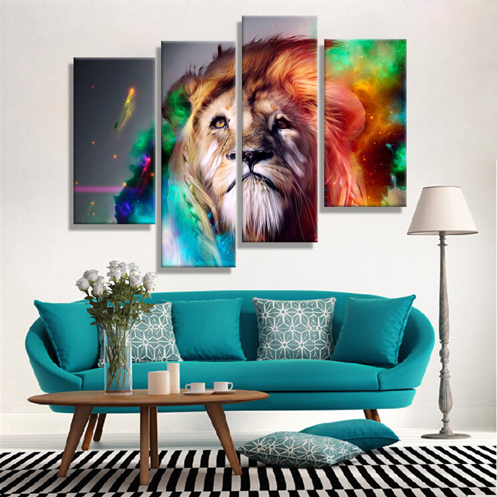 Oil Painting Canvas Abstract Animal Lion King Wall Art Home Decor Modern Decorative Modular Pictures For Living Room 4PCS