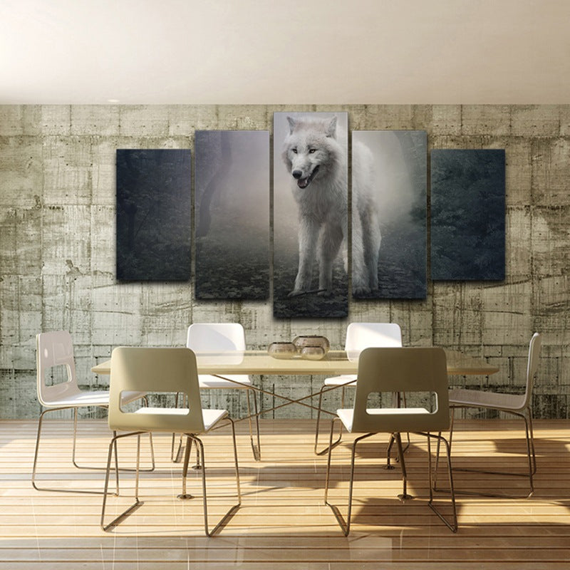 Modern Wall Art Poster Canvas HD Printed Painting 5 Panel Forest Animal Wolf Snow Fox Pictures