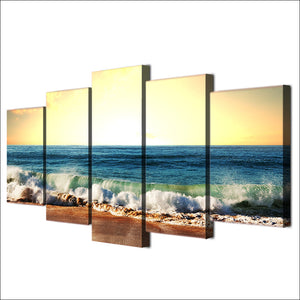 HD Printed 5 Piece Canvas Art Seascape Painting Sea Level Framed Poster Wall Pictures
