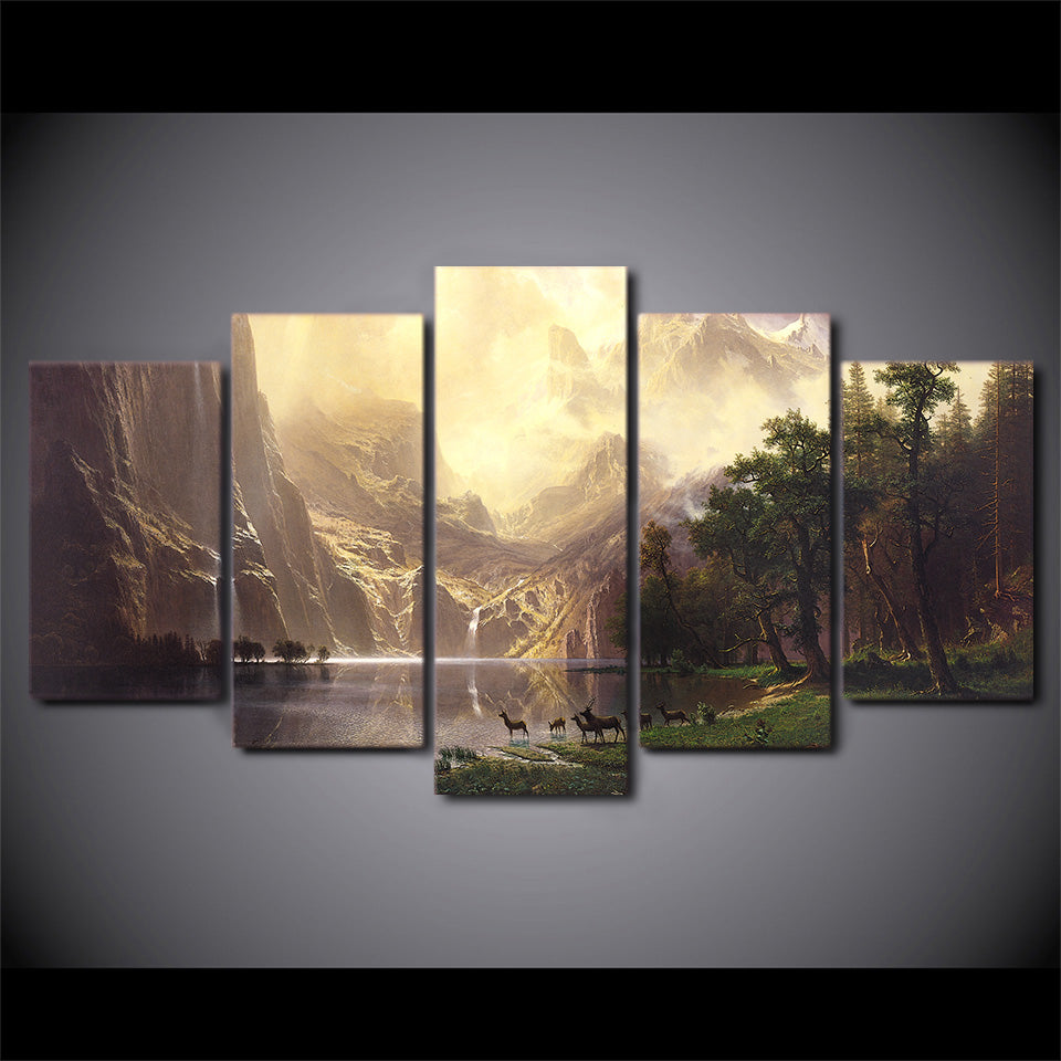 5 Pcs Canvas Art Mountain Lake Deers HD Printed Wall Art Canvas Painting Picture Poster Prints