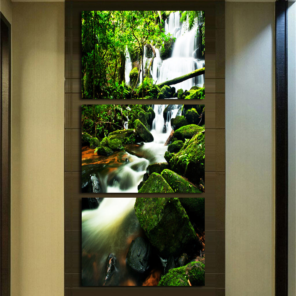 HD Printed 3 Piece Canvas Virgin Forest Waterfall Painting Wall Pictures Canvas Painting
