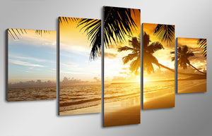 HD Printed Tropical Sunset Paradise Group Painting Decor Print Poster Picture Canvas