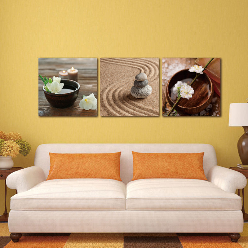 Zen Canvas Art Decor Flower in Bowl Water Candle Wall Art Painting ...