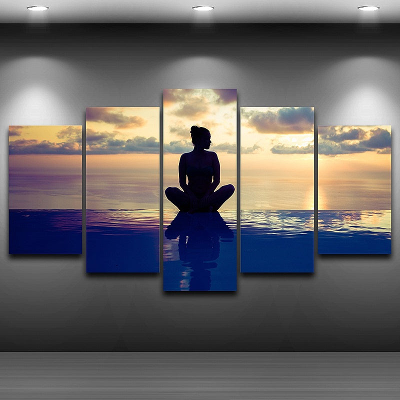 Wall Art Pictures Canvas Art Printed Painting 5 Panel Seaside Yoga Figure HD Photo