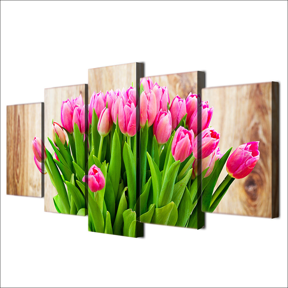 HD Printed 5 Piece Canvas Art Pink Tulip Painting Wall Pictures