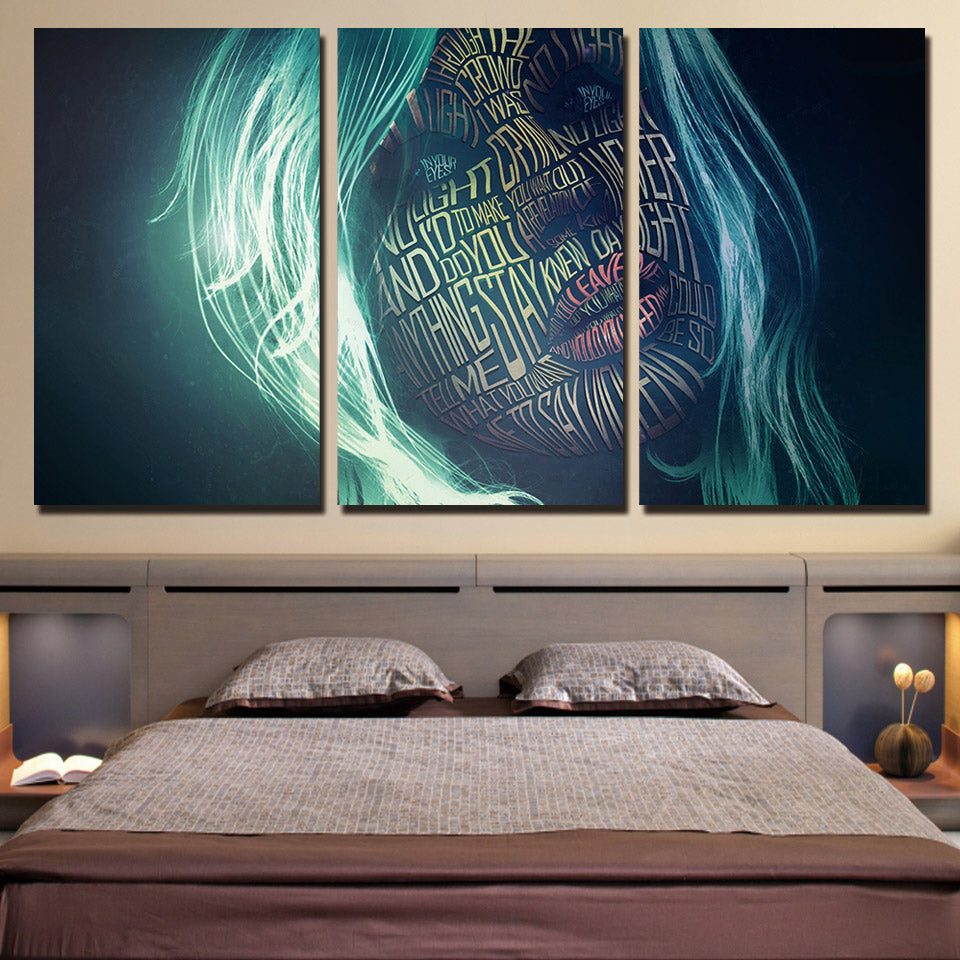 Wall Art Posters Abstract Pictures 3 Pieces Women Letter Graffiti Face Canvas Painting