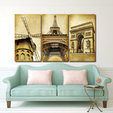 3 Piece Wall Art Europe Architecture Paris Prints Oil painting On Canvas Art Picture