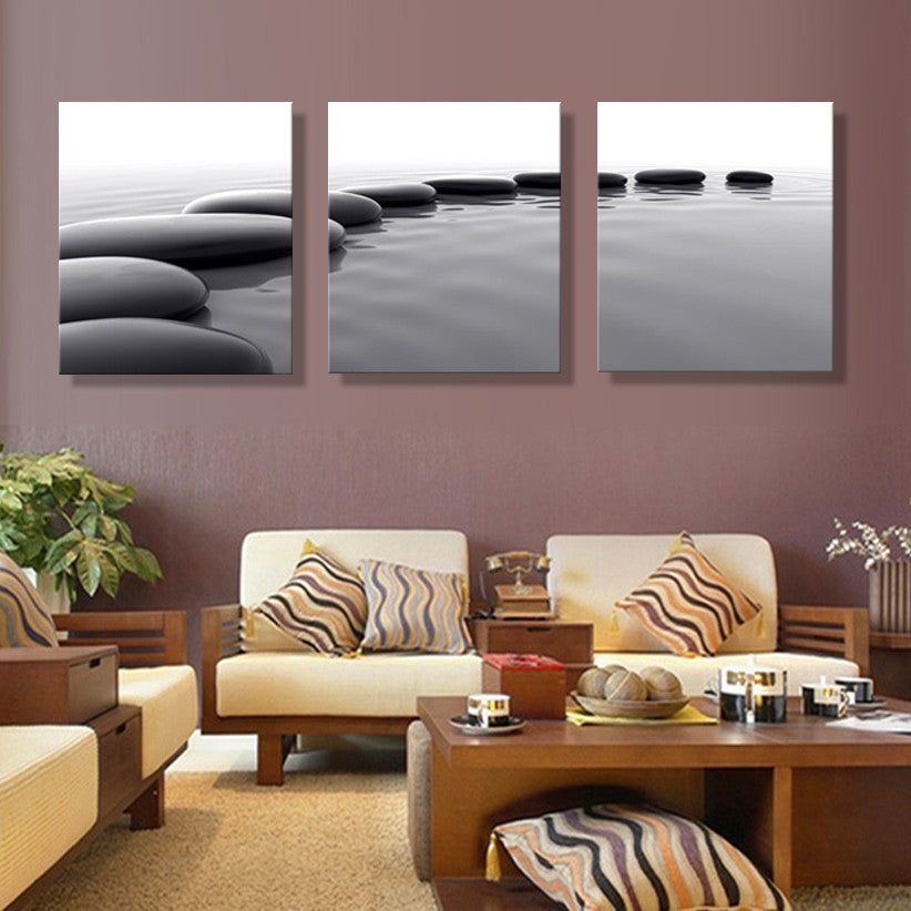 3 Panels Canvas Art Pebbles Stone Hd Prints Wall Pictures Still