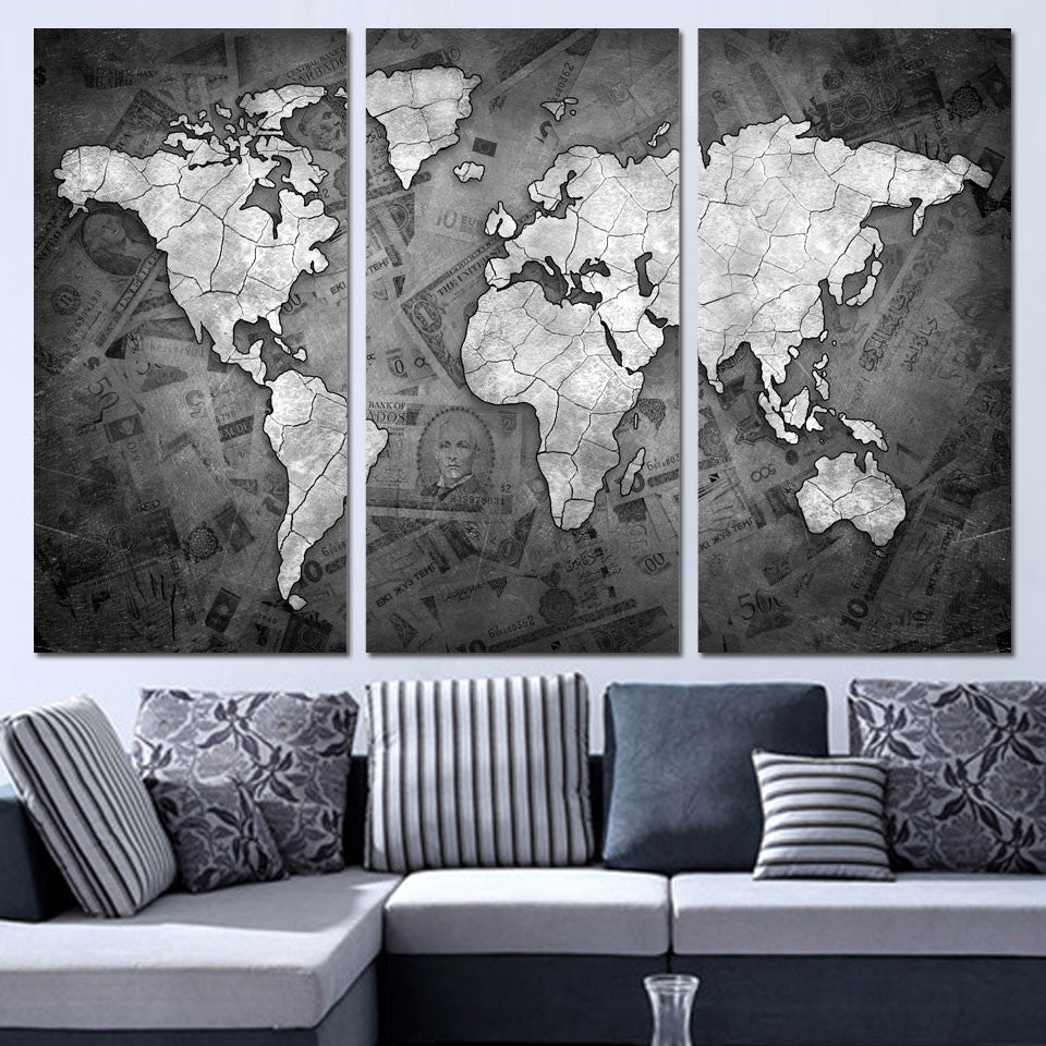 2d28fcc08 3 Panels Canvas Art World Map Black White Home Decor Wall Art Painting  Prints Pictures