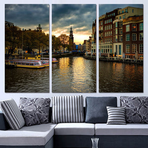 3 Panels Canvas Art Amsterdam House Canal Home Decor Wall Art Painting Canvas Prints Pictures