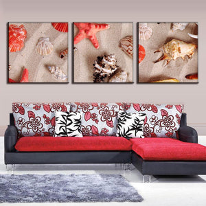 3 Panel Canvas Art Starfishes And Seashells Print Wall Pictures Living Room