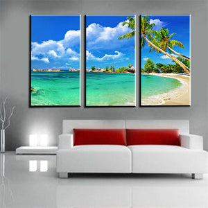 3 Panels Para Casa Canvas Print Painting Beach Scenery Room Decorations Art