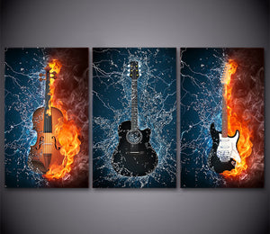 HD Printed Posters 3 Panels Canvas Art Black Burning Guitar Music Canvas Painting Room Decor Canvas Wall Art Picture