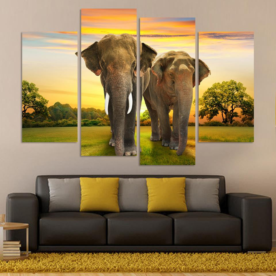 African Elephant Picture Painting Canvas Art 4 Panels Sunset Landscape Wall Decor Room Home Print Poster